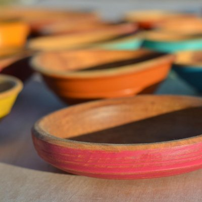 painted wooden bowls