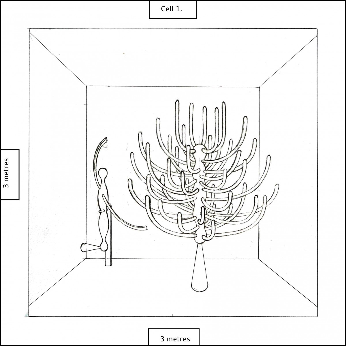 Cell 1. Design showing two sculptures in one space