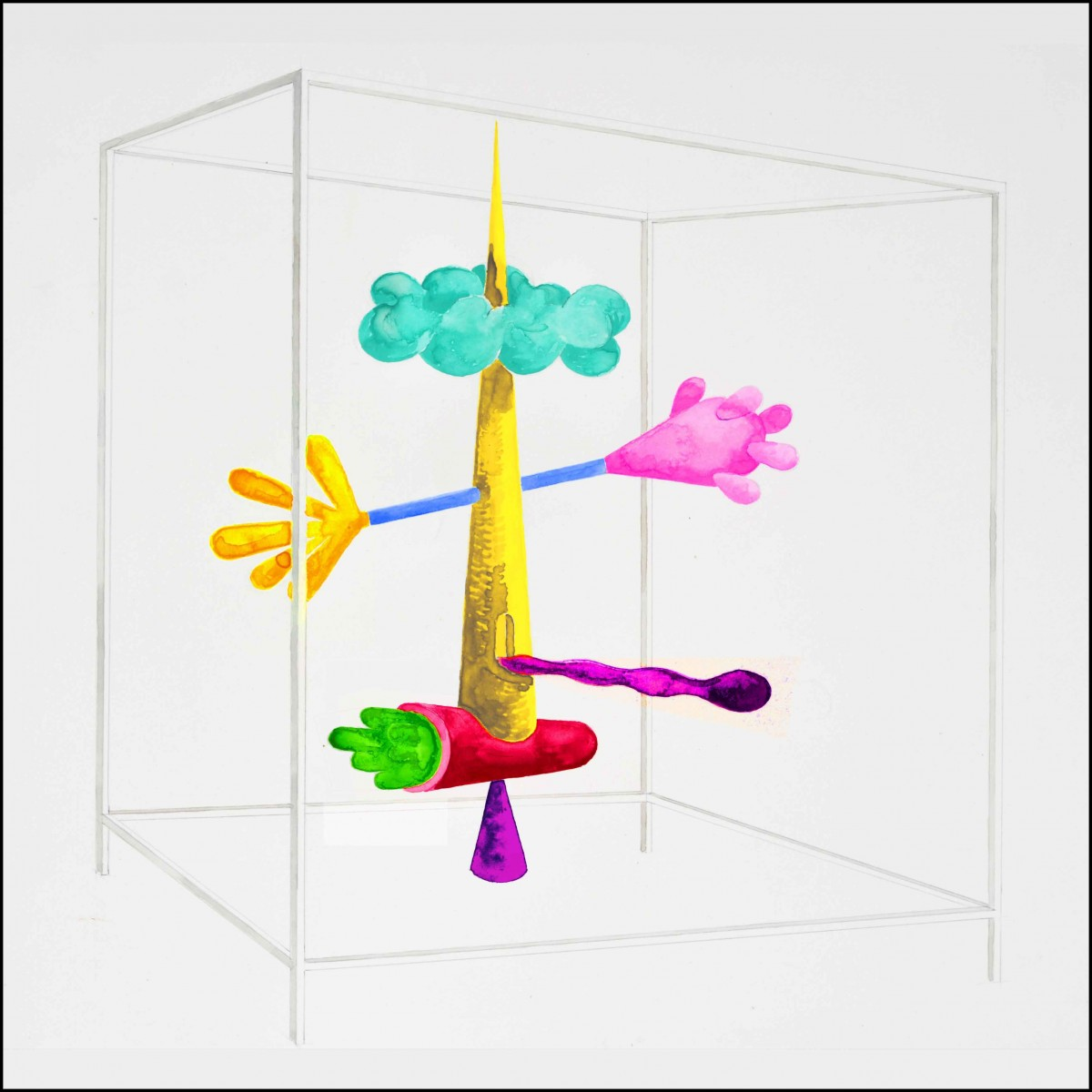 Cell 2. Sculpture imagined displayed in bright colours.