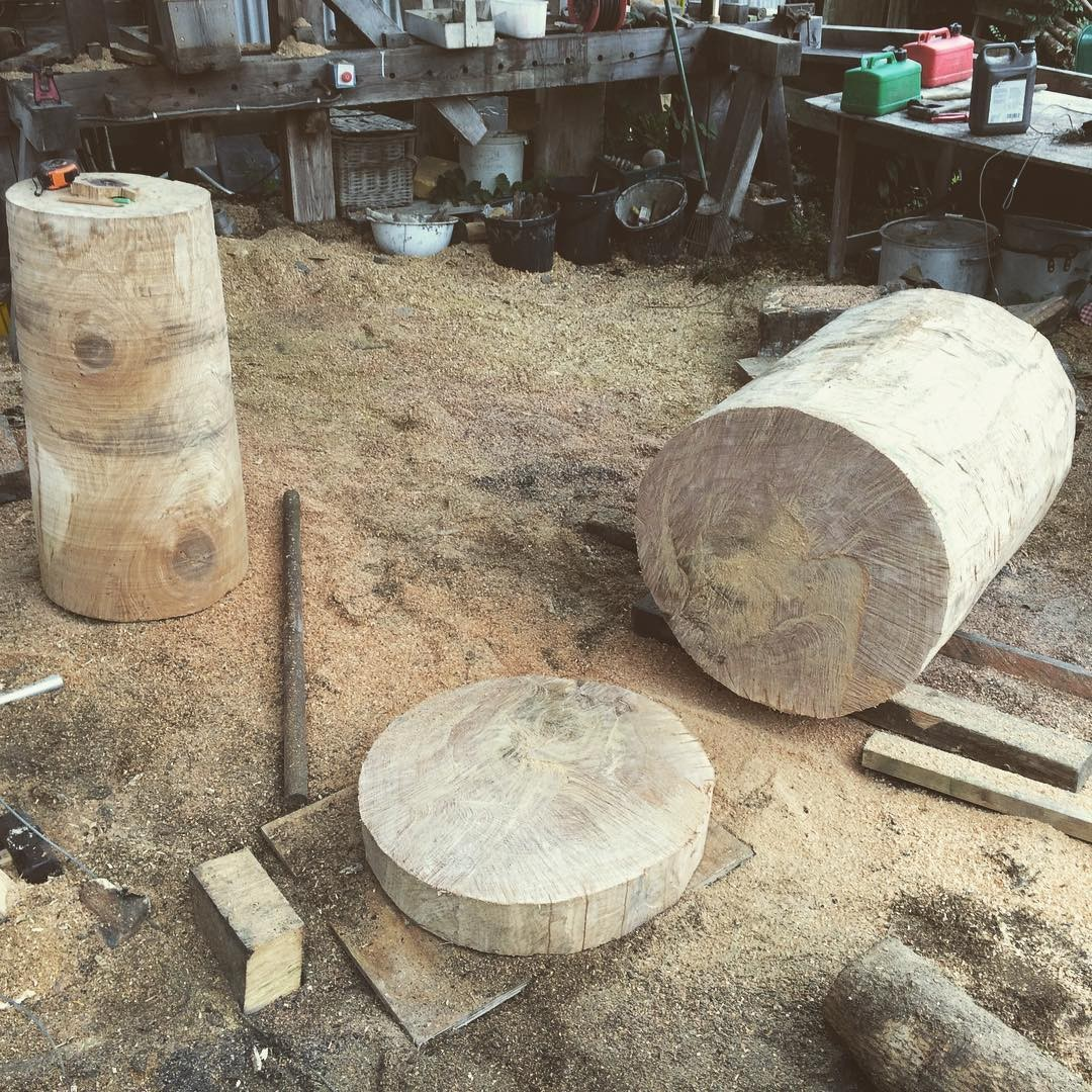Roughed out and rounded off oak sections