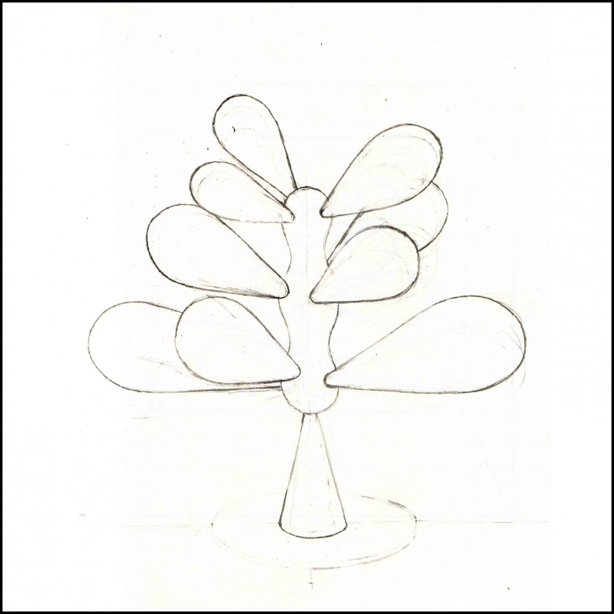 Cell 1 – Tree / figure sculpture drawing. Constructed in Oak
